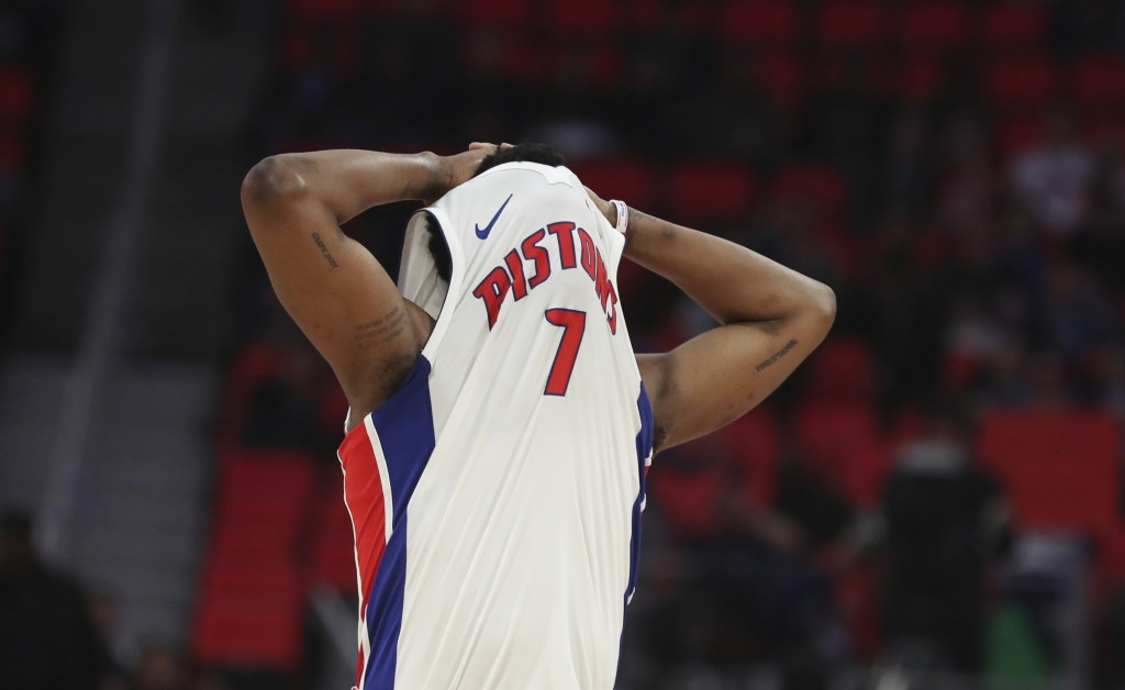 Detroit Pistons forward Stanley Johnson walks up the court after missing a shot during the second half of the team's NBA basketball game against the P...