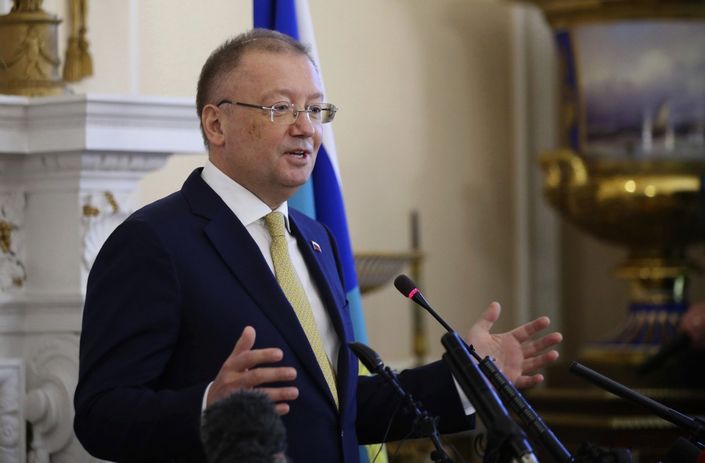 Russian ambassador to the UK Alexander Vladimirovich Yakovenko speaks about the Salisbury incident, during a news conference at the Russian Embassy in