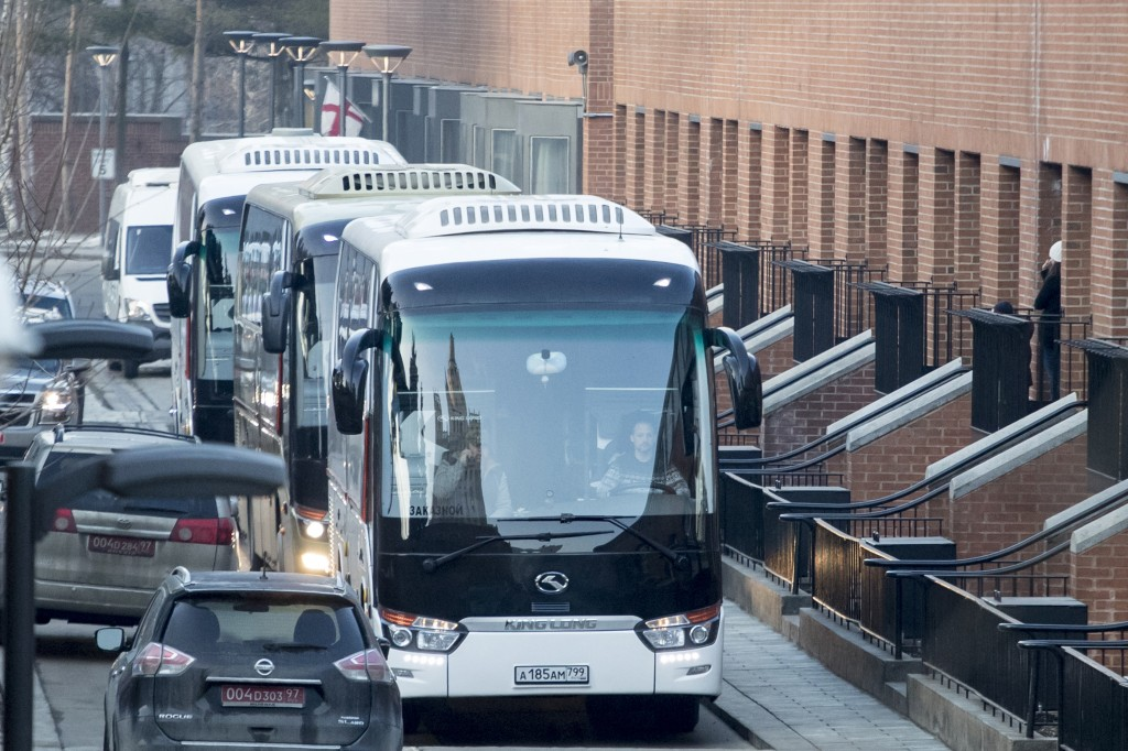 Buses believed to be carrying expelled diplomats p...