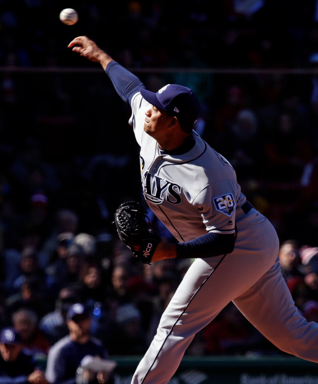 Tampa Bay Rays starting pitcher Yonny Chirinos delivers during the third inning of a baseball game against the Boston Red Sox at Fenway Park in Boston...