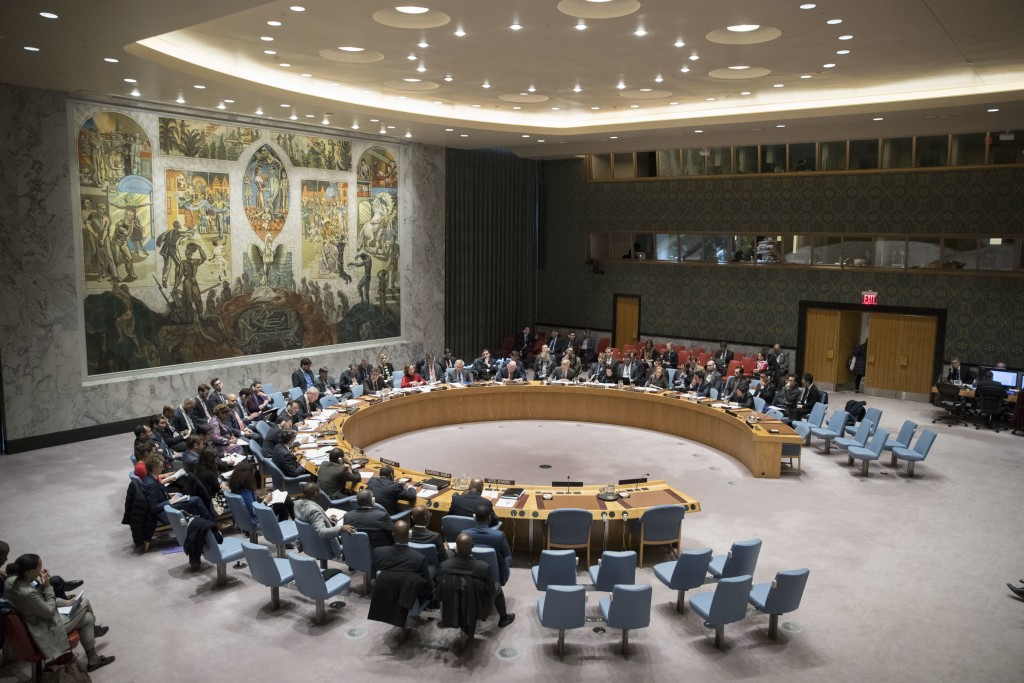 The United Nations Security Council meets on the situation between Britain and Russia Thursday, April 5, 2018 at United Nations headquarters. (AP Phot