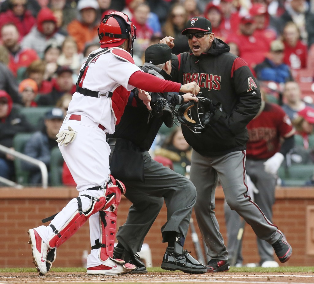 Arizona Diamondbacks manager Torey Lovullo gestures at St. Louis Cardinals catcher Yadier Molina as he argues balls and strikes with home plate umpire