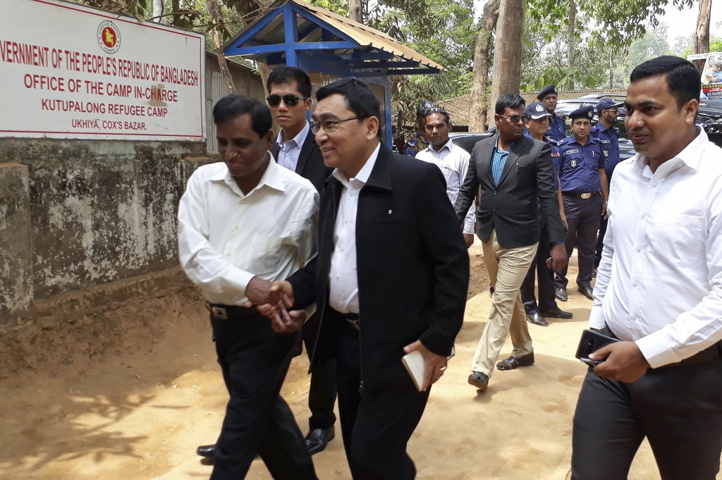 Myanmar's Social Welfare, Relief and Resettlement Minister Win Myat Aye arrives at Kutupalong refugee camp in Cox's Bazar, Bangladesh, Wednesday, Apri