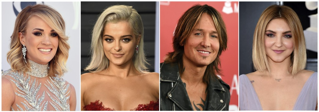 This combination photo shows, from left, Carrie Underwood, Bebe Rexha, Keith Urban and Julia Michaels who will perform at the Academy of Country Music