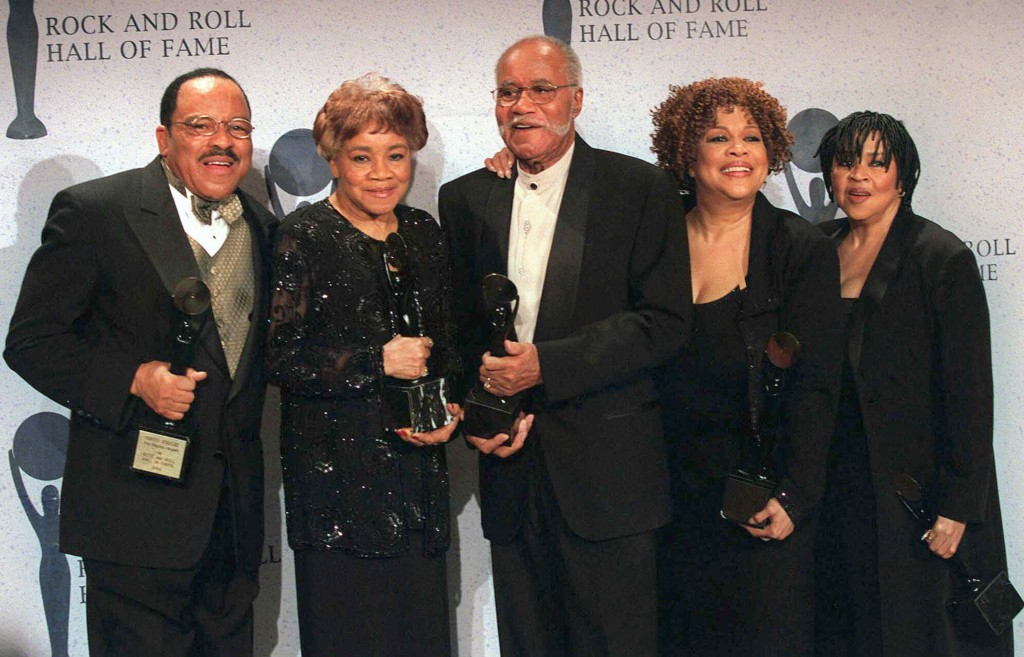 FILE - This March 15, 1999 file photo shows the sibling group The Staples Singers, from left, Pervis, Cleotha, Pops, Mavis, and Yvonne at the Rock and...