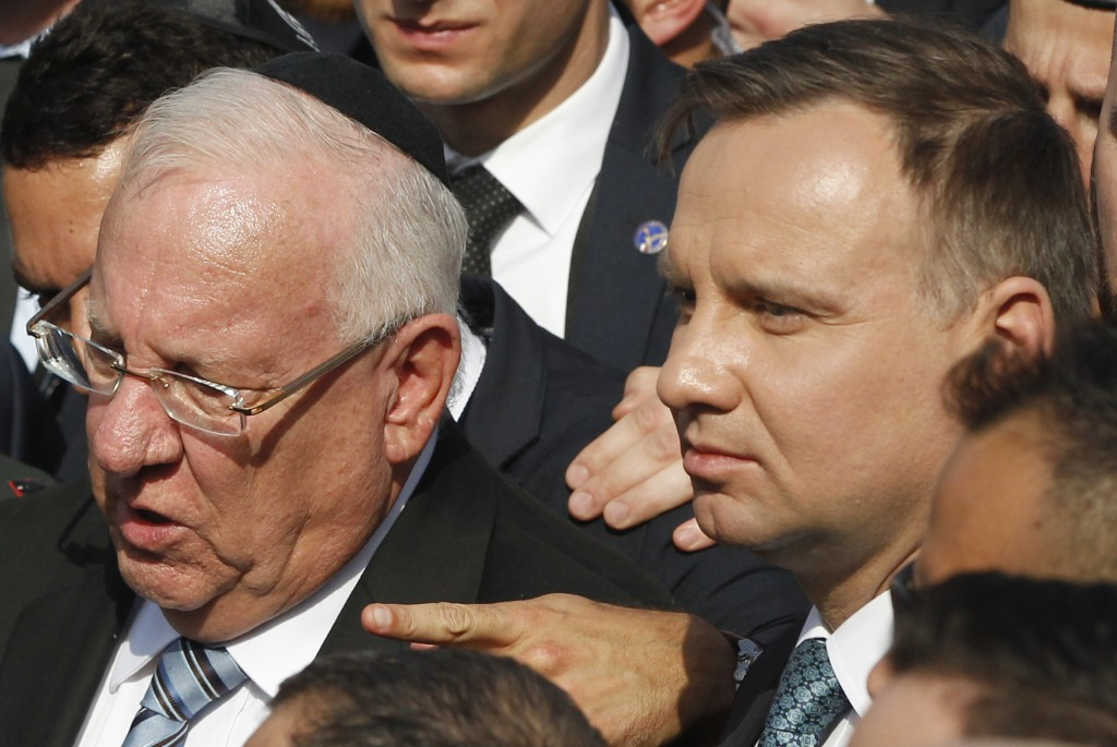 Poland's President Andrzej Duda, right,  and Israel's President Reuven Rivlin walk in the March of the Living, a yearly Holocaust remembrance march be