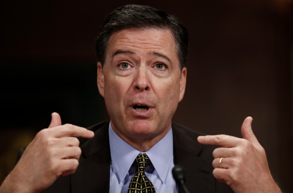 FILE - In this May 3, 2017, file photo, then-FBI Director James Comey testifies on Capitol Hill in Washington. Comey is blasting President Donald Trum