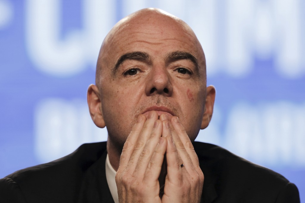 FIFA President Gianni Infantino participates in the annual conference of the South American Football Confederation, CONMEBOL, in Buenos Aires, Argenti