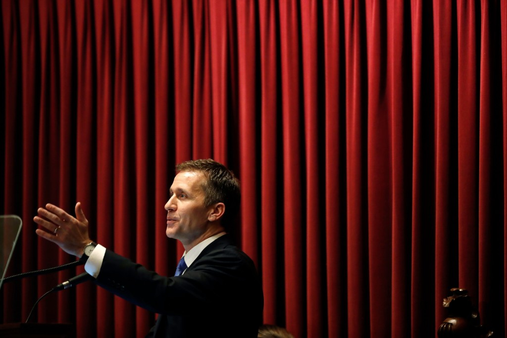 In this Jan. 10, 2018, photo, Missouri Gov. Eric Greitens delivers the annual State of the State address to a joint session of the House and Senate in