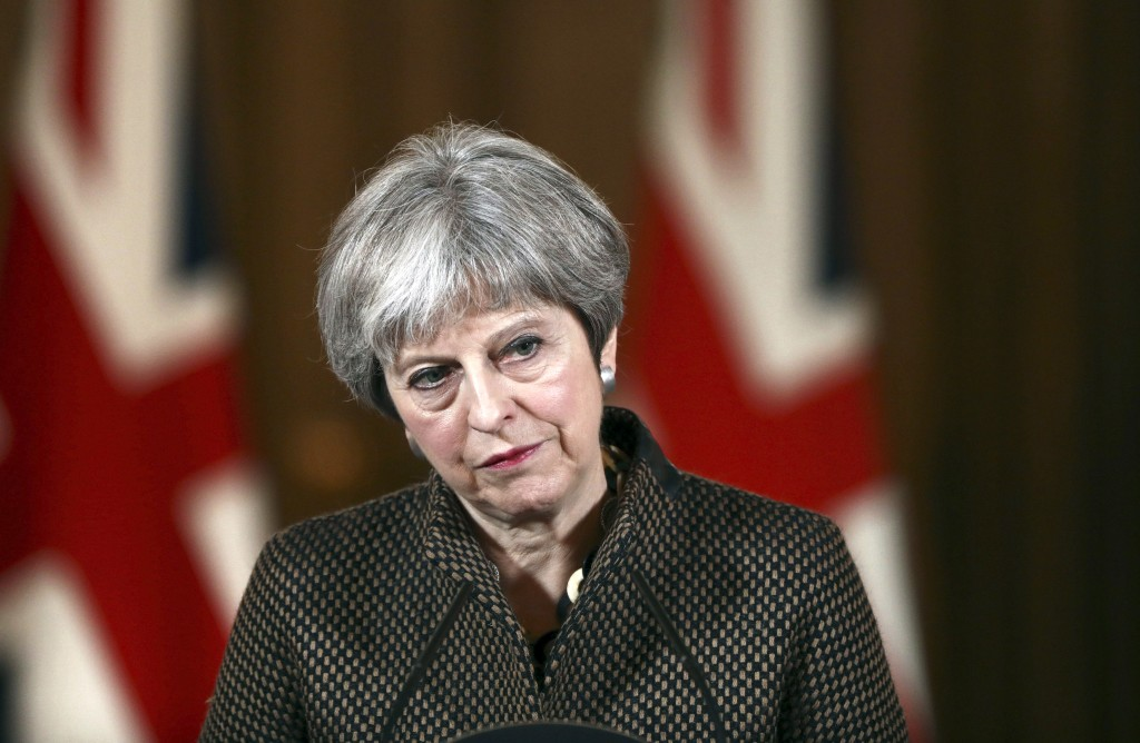 Britain's Prime Minister Theresa May during a press conference in 10 Downing Street, London, Saturday, April 14, 2018. British Prime Minister Theresa