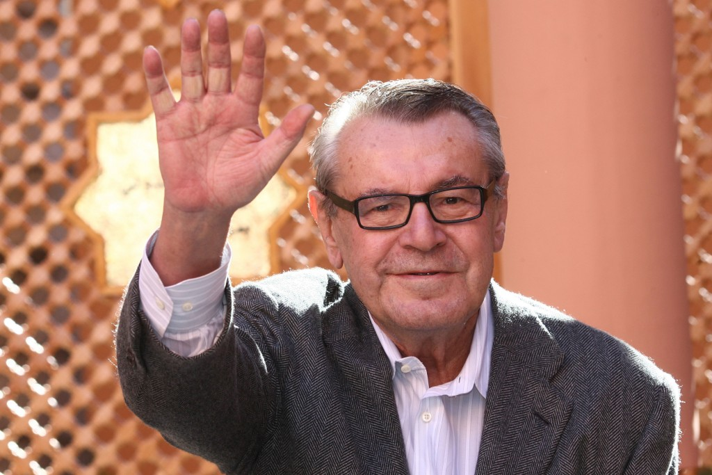 FILE - In this Dec. 8, 2007, file photo, Czech-born filmmaker Milos Forman, Jury President of the seventh Marrakesh Film Festival, poses during a phot...