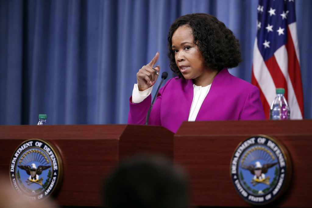 Pentagon chief spokesperson Dana W. White speaks during a media availability at the Pentagon, Saturday, April 14, 2018, in Washington. (AP Photo/Alex ...