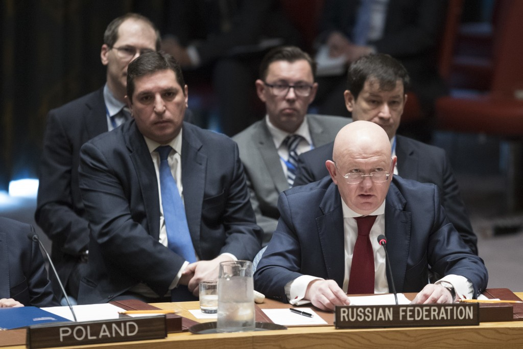 Russian Ambassador to the United Nations Vassily Nebenzia speaks during a Security Council meeting on the situation in Syria, Saturday, April 14, 2018...