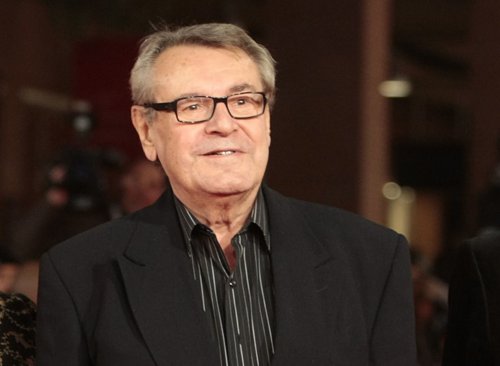 FILE - In this Oct. 15, 2009, file photo, film festival jury member Milos Forman poses on the red carpet at the IV edition of the Rome Film Festival i...