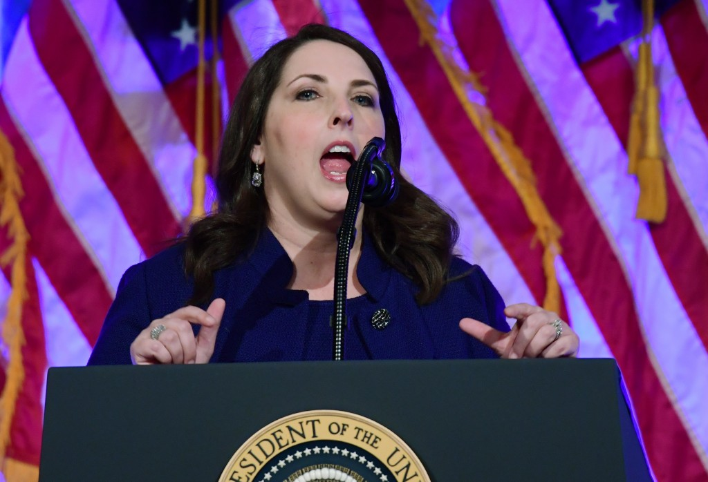 In this Dec. 2, 2017, photo, Republican National Committee chairwoman Ronna Romney McDaniel, speaks at a fundraiser at Cipriani in New York. The Repub