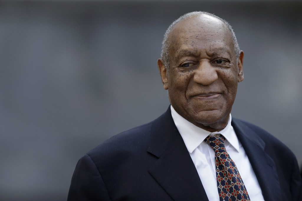 Bill Cosby smiles as he departs his sexual assault trial, Friday, April 13, 2018, at the Montgomery County Courthouse in Norristown, Pa. (AP Photo/Mat