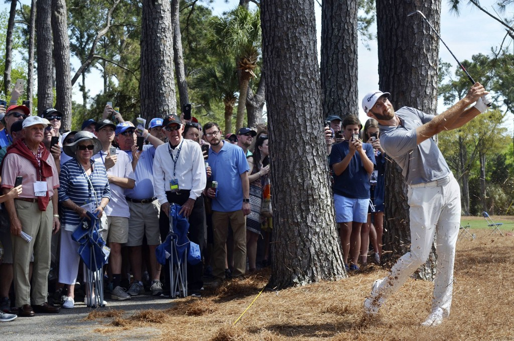 Members of the gallery watch as Dustin Johnson, right, hits back onto the No. 9 fairway after an errant tee shot during the second round of the RBC He