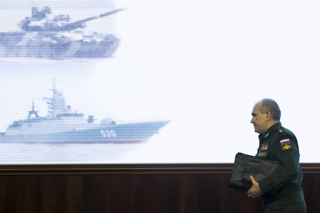 Col. Gen. Sergei Rudskoi of the military's General Staff leaves a briefing at the Russian Defense Ministry in Moscow, Russia, Saturday, April 14, 2018