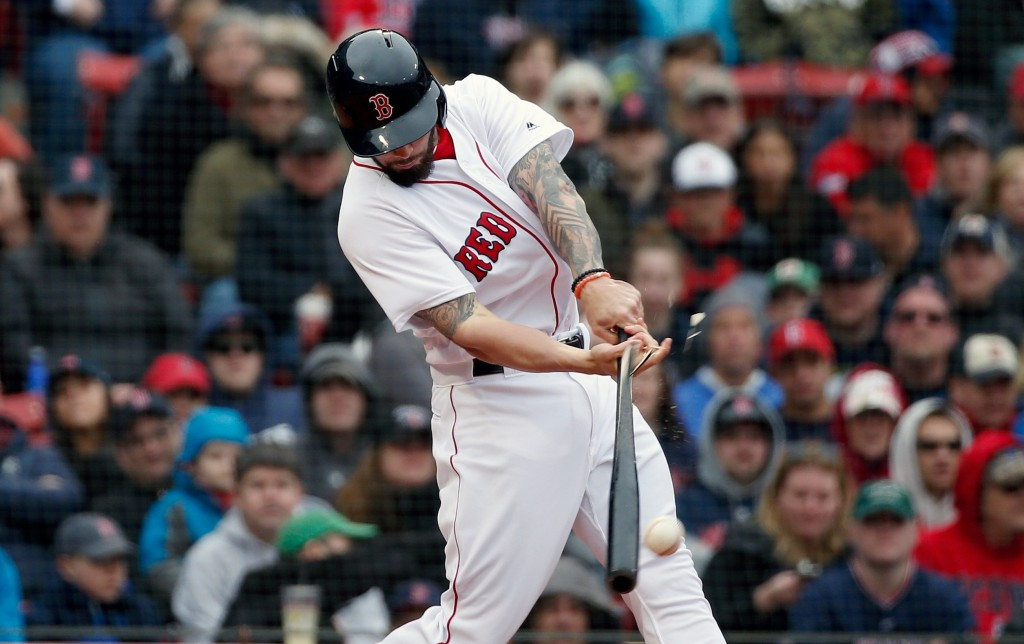 Boston Red Sox's Blake Swihart breaks his bat on his RBI single during the seventh inning of a baseball game against the Baltimore Orioles in Boston,
