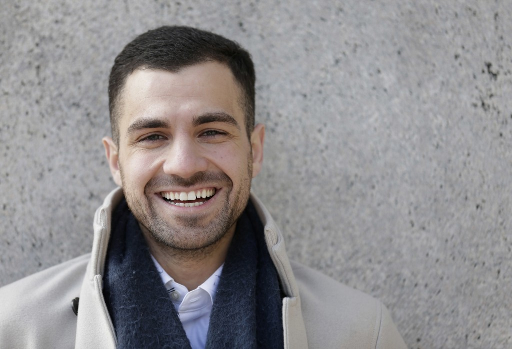 In this April 2, 2018 photo, Qutaiba Idlbi poses for a picture at Columbia University in New York where he is a sophomore. A scholarship program that