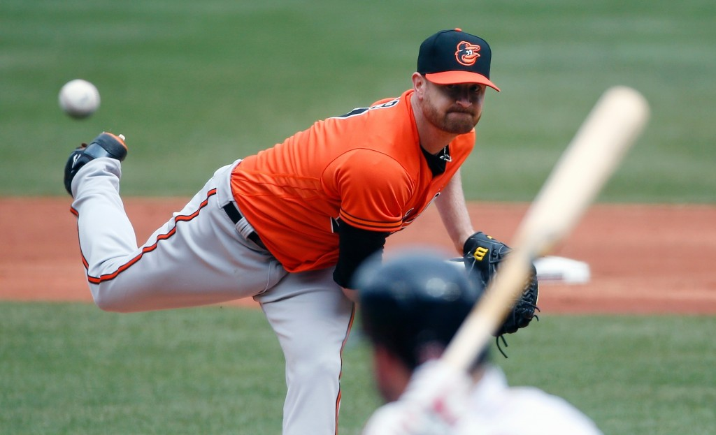 Baltimore Orioles' Alex Cobb pitches during the first inning of a baseball game against the Boston Red Sox in Boston, Saturday, April 14, 2018. (AP Ph