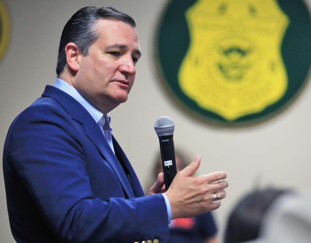 FILE - In this April 3, 2018, file photo, U.S. Senator Ted Cruz, R-Texas, speaks to supporters as he campaigns for re-election at the National Border