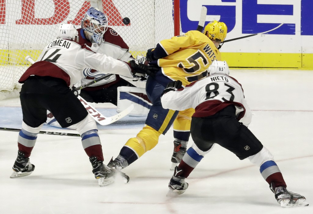 Nashville Predators left wing Austin Watson (51) scores a goal against Colorado Avalanche goaltender Jonathan Bernier during the third period in Game
