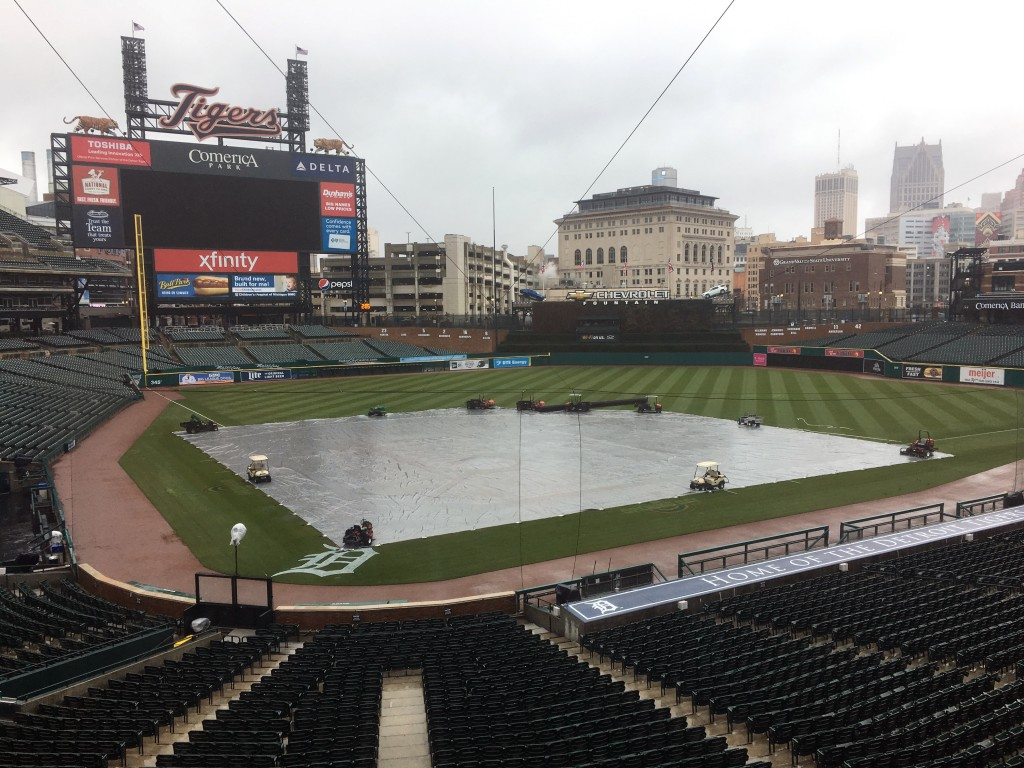 The field is covered as the Yankees and Tigers were rained out Saturday, April 14, 2018 in Detroit.  The Yankees beat the Tigers 8-6 on Friday night,