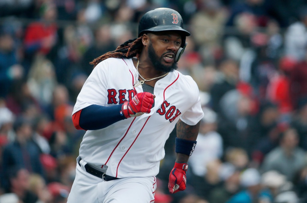 Boston Red Sox's Hanley Ramirez runs on his two-run double during the fourth inning of a baseball game against the Baltimore Orioles in Boston, Saturd