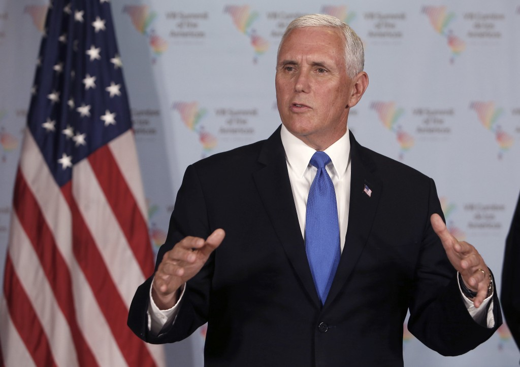 U.S. Vice President Mike Pence speaks during a press conference at the Summit of the Americas in Lima, Peru, Saturday, April 14, 2018. (AP Photo/Karel