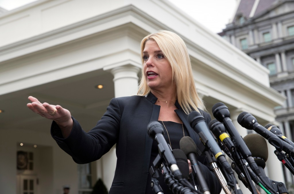 FILE - In this Thursday, Feb. 22, 2018 file photo, Florida Attorney General Pam Bondi speaks to reporters outside the West Wing about about responses