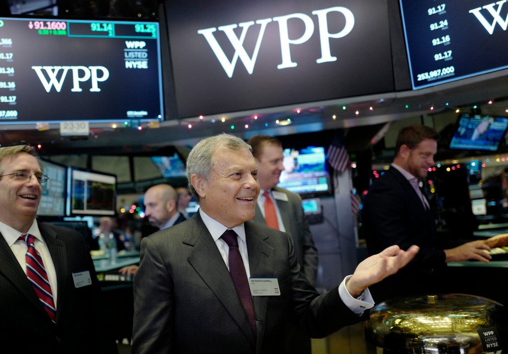 FILE - In this Wednesday, Dec. 13, 2017 file photo, Sir Martin Sorrell, CEO of WPP, visits the New York Stock Exchange in New York. Martin Sorrell is