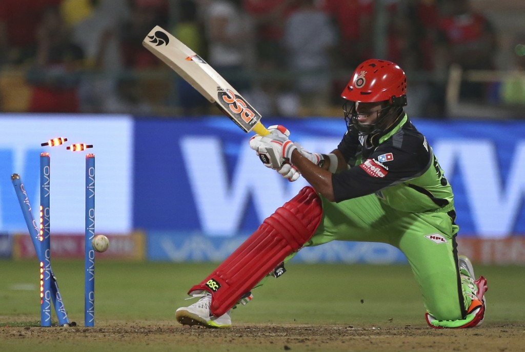 Royal Challengers Bangalore batsman Washington Sundar is bowled out by Rajasthan Royals Ben Stokes during the VIVO IPL Twenty20 cricket match in Banga