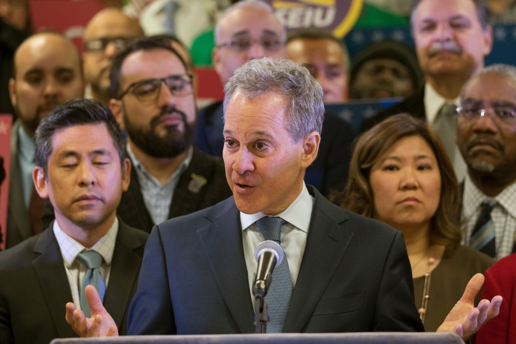 FILE - In this Tuesday, April 3, 2018 file photo, New York Attorney General Attorney General Eric Schneiderman speaks during a news conference in New