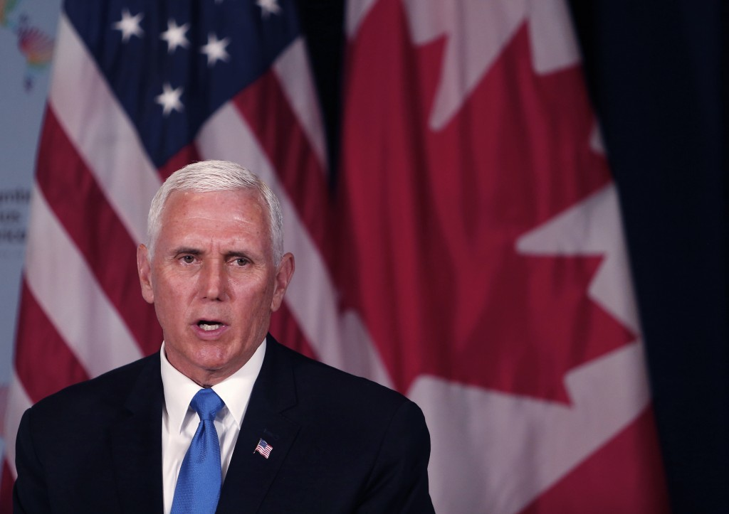 U.S. Vice President Mike Pence speaks during a bilateral meeting with Canada's Prime Minister Justin Trudeau, at the Summit of the Americas in Lima, P...