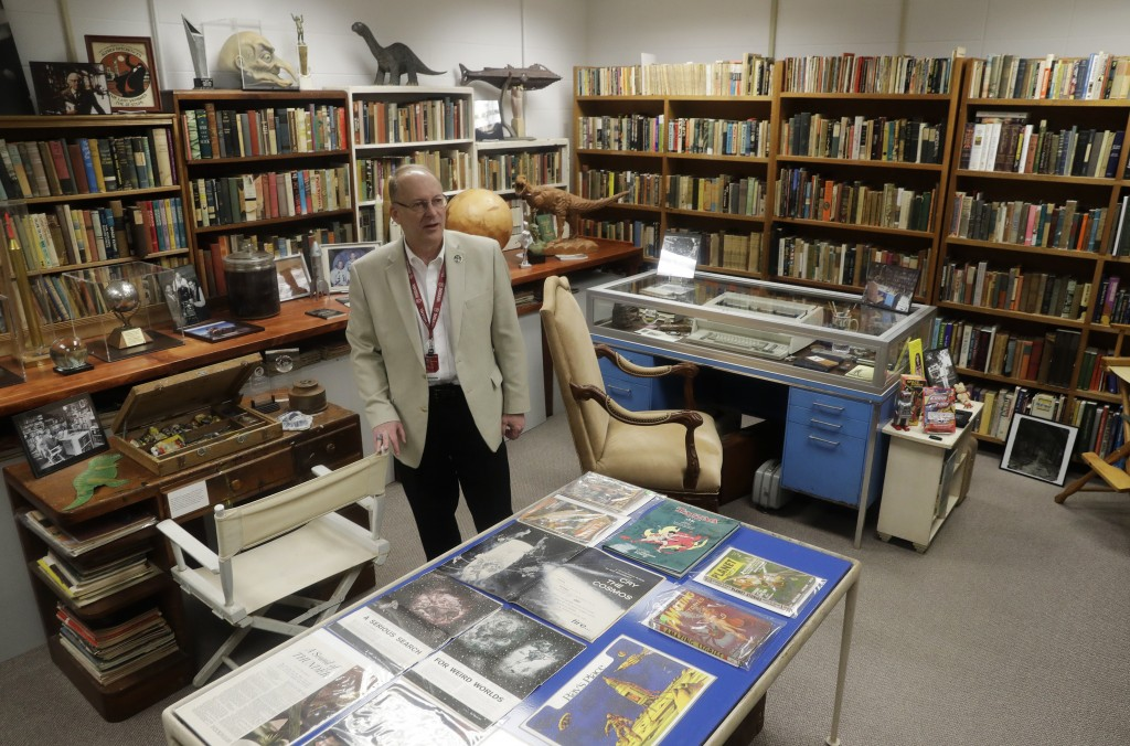 In this Thursday, April 12, 2018, photo, Center for Ray Bradbury Studies director Jonathan Eller talks about the vast trove of manuscripts, correspond