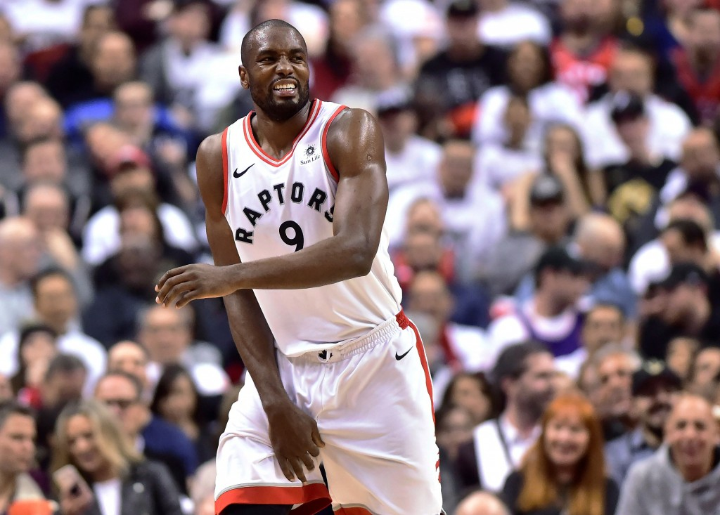 Toronto Raptors forward Serge Ibaka reacts during the second half of Game 1 of the team's NBA basketball first-round playoff series against the Washin