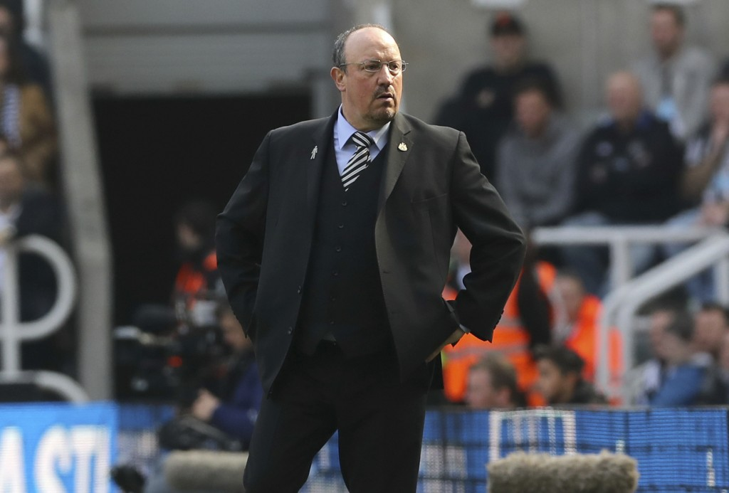 Newcastle United manager Rafael Benitez looks on during the English Premier League soccer match between Newcastle United and Arsenal at St James' Park