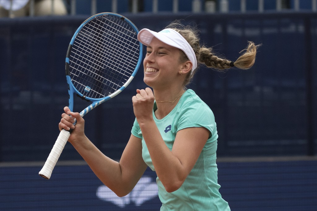 Elise Mertens from Belgium rejoices after winning against Aryna Sabalenka from Belarus  during the final match at the Samsung Open WTA tennis tourname