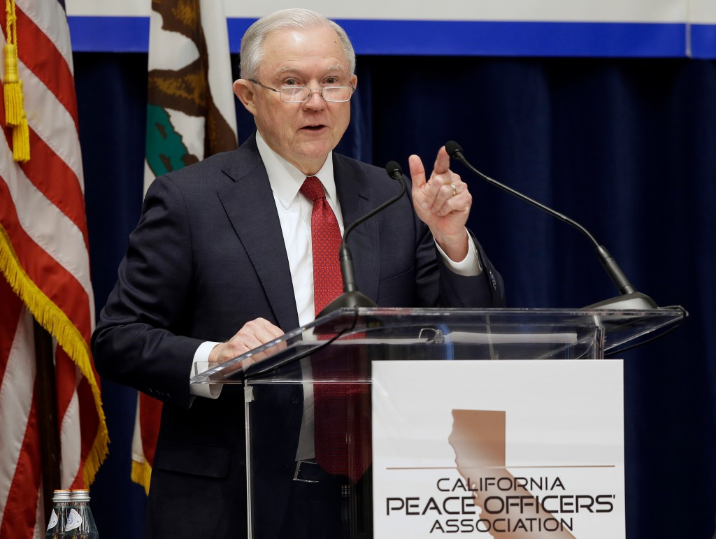 FILE - In this March 7, 2018, file photo, U.S. Attorney General Jeff Sessions addresses the California Peace Officers' Association at the 26th Annual
