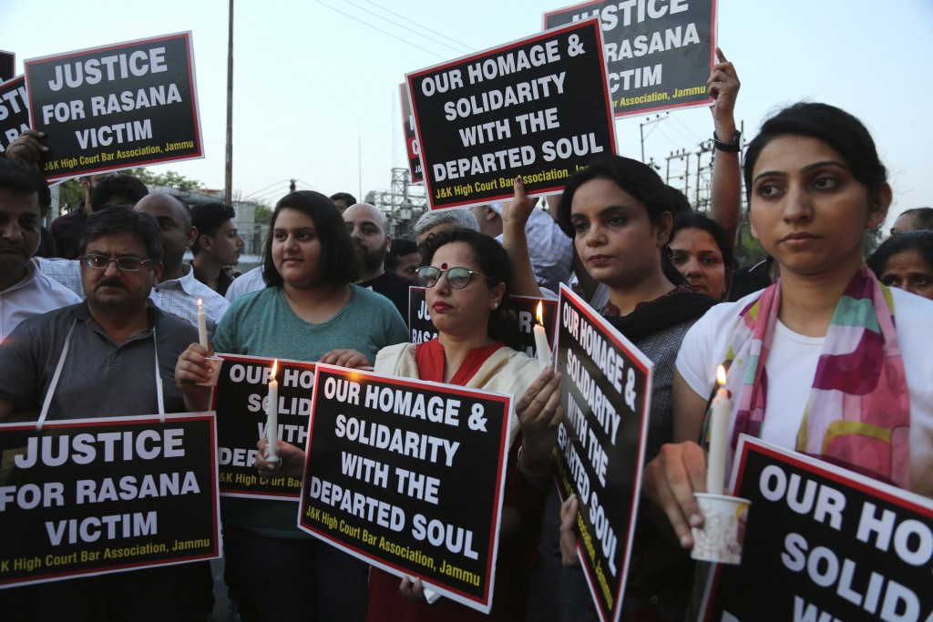Lawyers participate in a protest against the rape and murder of an 8-year-old girl, in Jammu, India, Saturday, April 14, 2018. The girl was grazing he
