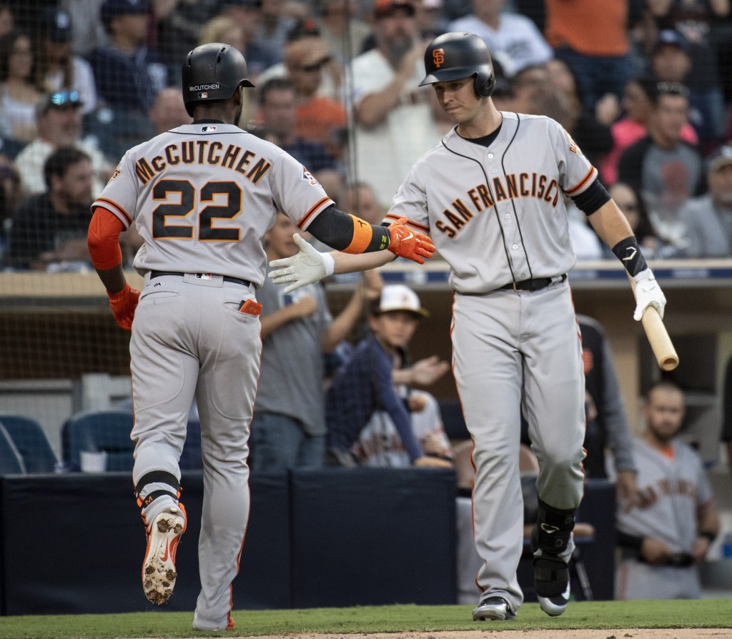 San Francisco Giants' Andrew McCutchen, left, celebrates his solo home run with Buster Posey during the fifth inning of a baseball game against the Sa