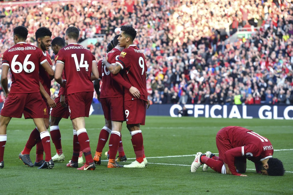 Liverpool's Mohamed Salah celebrates scoring his side's second goal of the game during the English Premier League soccer match between Liverpool and B