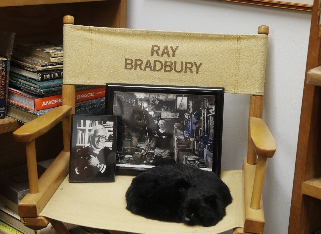 """In this Thursday, April 12, 2018, photo, Ray Bradbury's honorary """"director's chair"""" is pictured in Indianapolis. The chair commemorates his close asso"""