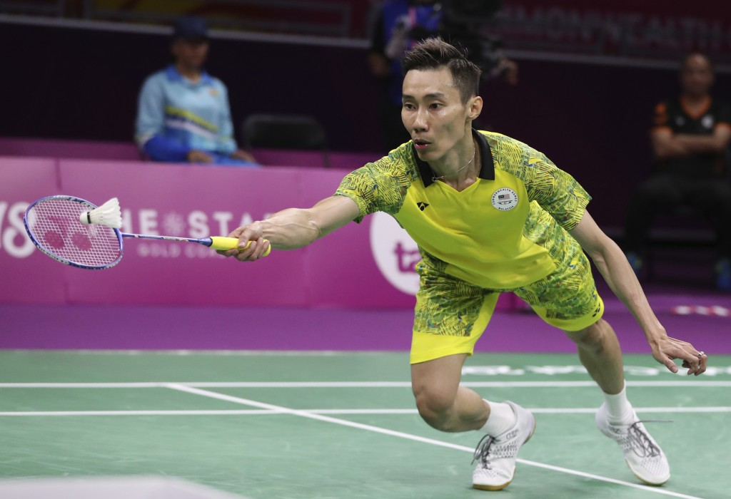 Malaysia's Lee Chong Wei plays against India's Srikanth Kidambi during their men's singles badminton final match at Carrara Sports Hall during the Com