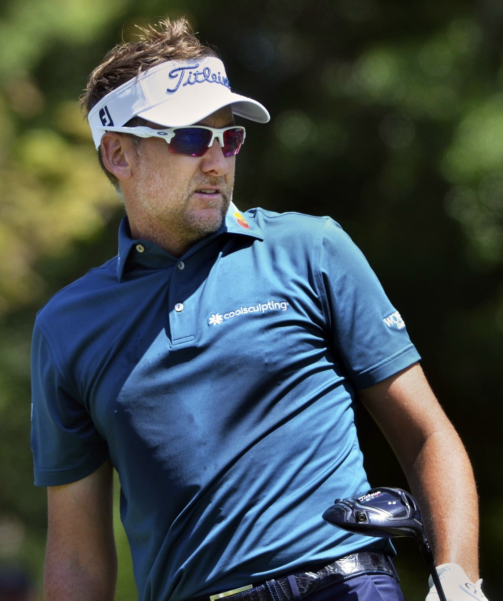 Ian Poulter watches his tee shot on  the third hole during the third round of the RBC Heritage golf tournament Saturday, April 14, 2018, at Harbour To