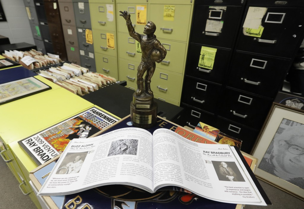 In this Thursday, April 12, 2018, photo, The Center's displays include the Jules Verne Lifetime Achievement Award is pictured, in Indianapolis. The aw