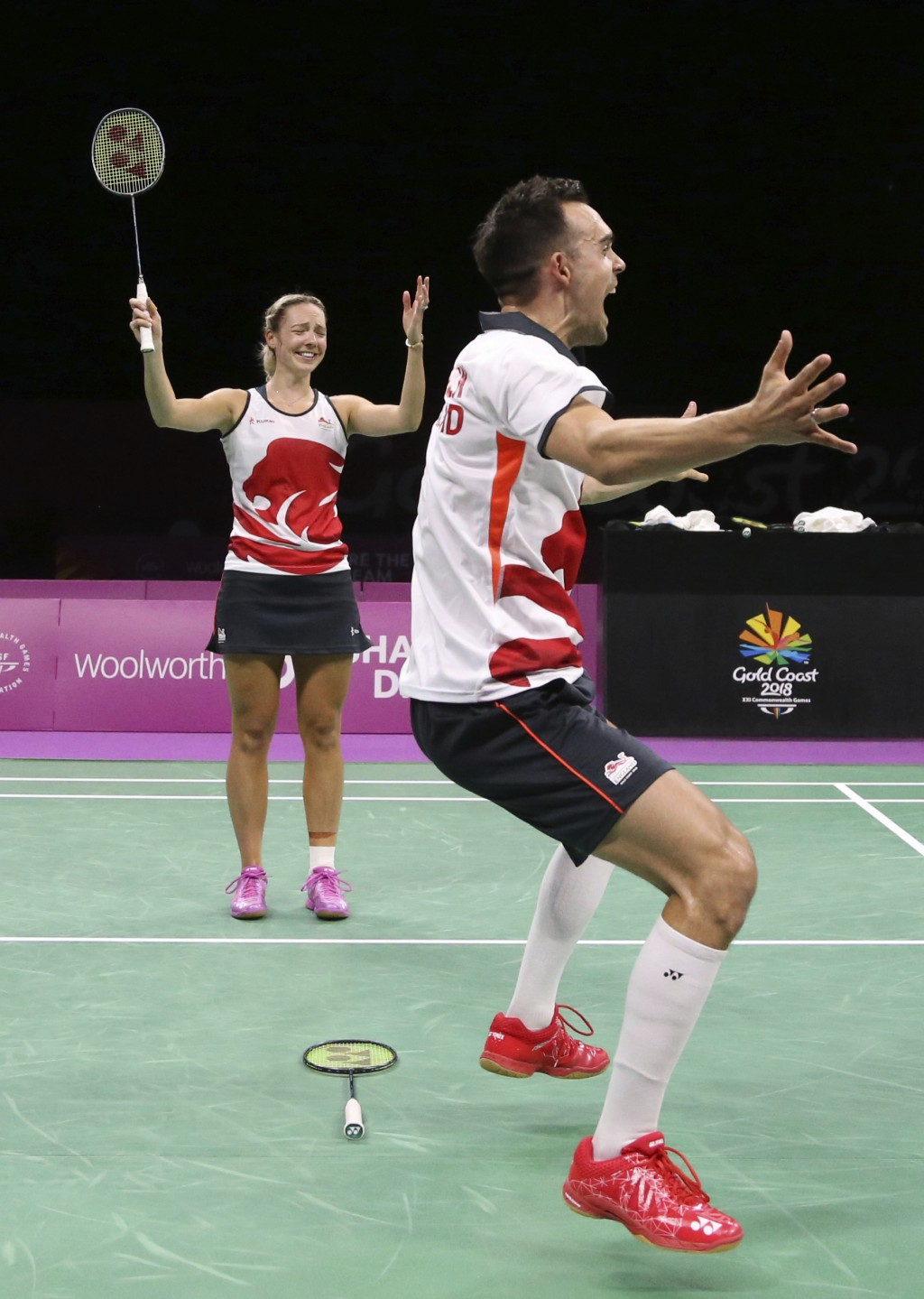 CORRECT NAMES OF PLAYERS - England's Chris Adcock, right, and Gabrielle Adcock celebrate after defeating their compatriots Marcus Ellis and Lauren Smi