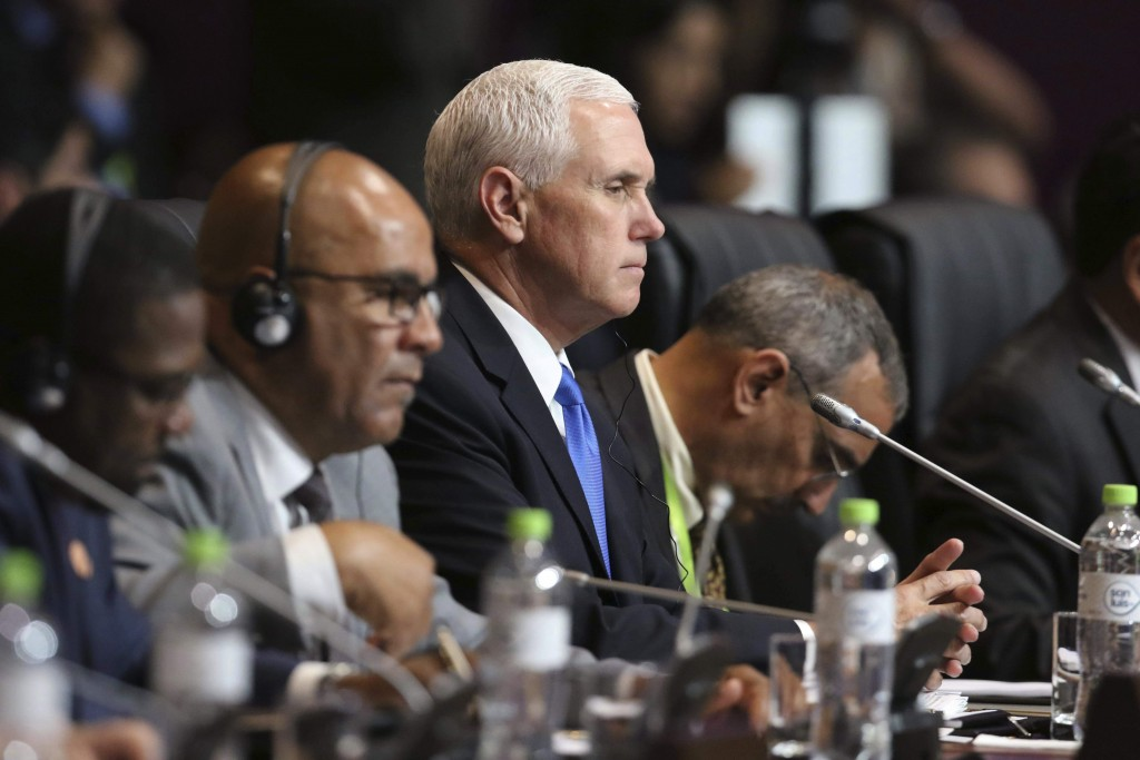 U.S. Vice President Mike Pence attends the plenary session at the Americas Summit in Lima, Peru, Saturday, April 14, 2018.(AP Photo/Juan Pablo Azabach