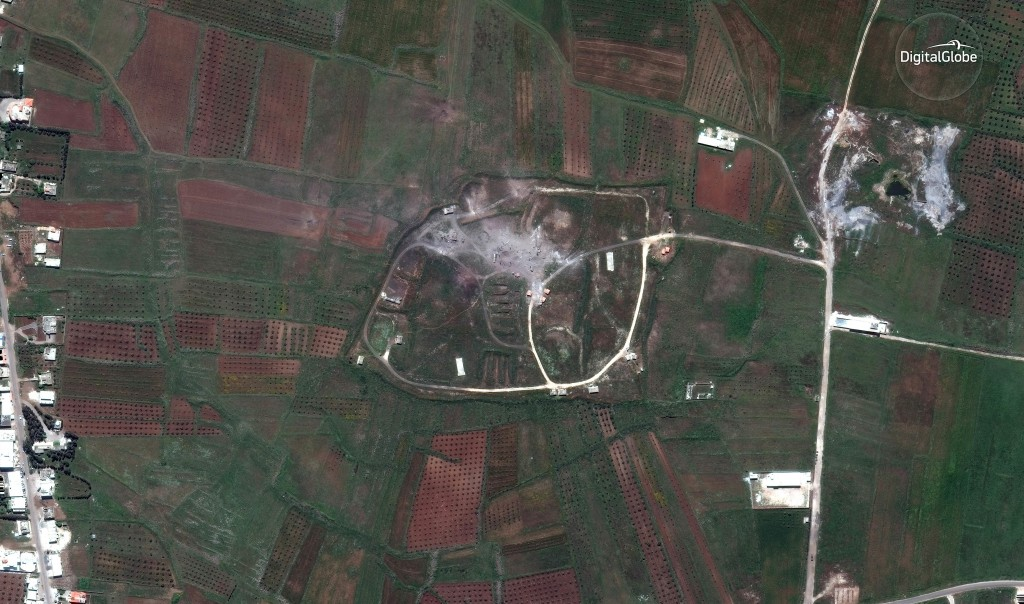 This satellite image provided by DigitalGlobe shows the Him Shinshar Chemical Weapons Storage Facility in Syria on Saturday, April 14, 2018, following